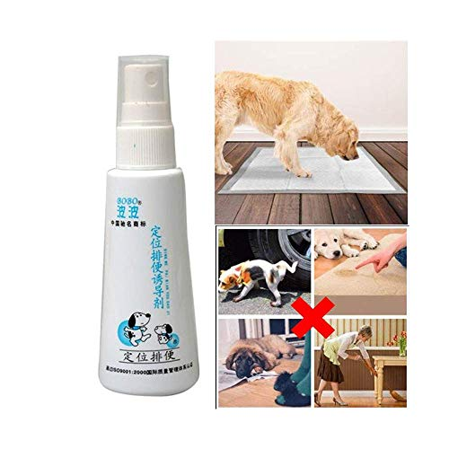 Potty Here Training Aid Spray,Dog Potty Trainer,Training Spray Potty Aid Dogs and Puppies Puppy Liquid Cats Positioning Induction Fluid,Pet Corrector Spray for Dog Cat (White)