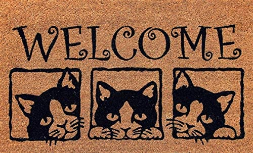 Designer Welcome Natural Coir Non Slip Doormat for Patio, Front Door, All Weather Exterior Doors 18 X 30 Inch 3 Box Animals Cats