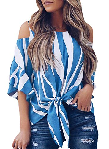 Ruffle Sleeve Shirt - FARYSAYS Women's Striped Cold Shoulder Ruffle 3/4 Sleeve Shirts Casual Loose Tie Knot Tops and Blouses Blue X-Large