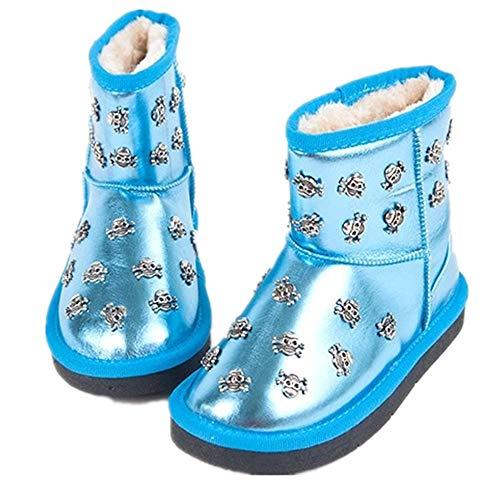 Zarachielly Boy & Girls Snow Boots Winter Outdoor Waterproof Fur Lined Toddlers/Kids(Blue EU 27/10 M US Toddler) ()