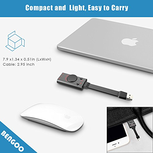 USB Sound Card Adapter BENGOO External Audio Adapter Stereo Sound Card Converter 3.5mm AUX Microphone Jack for Gaming Headset Earphone PS4 Laptop Desktop Windows Mac OS Linux, Plug Play by BENGOO (Image #3)