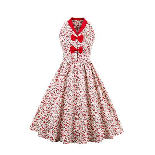 vestidos mangas para vestir patchwork las mujeres giro floral bowknot vestido rosas elegante verano Ropa Puntos sin de de imprimir fiesta estilo Vntage de UZZ4px7