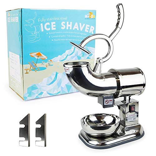 WYZworks Stainless Steel Commercial Heavy Duty Ice Shaver with 2 Extra Blades - 440lb/h Sno Snow Cone Shaved Icee Maker Machine ()