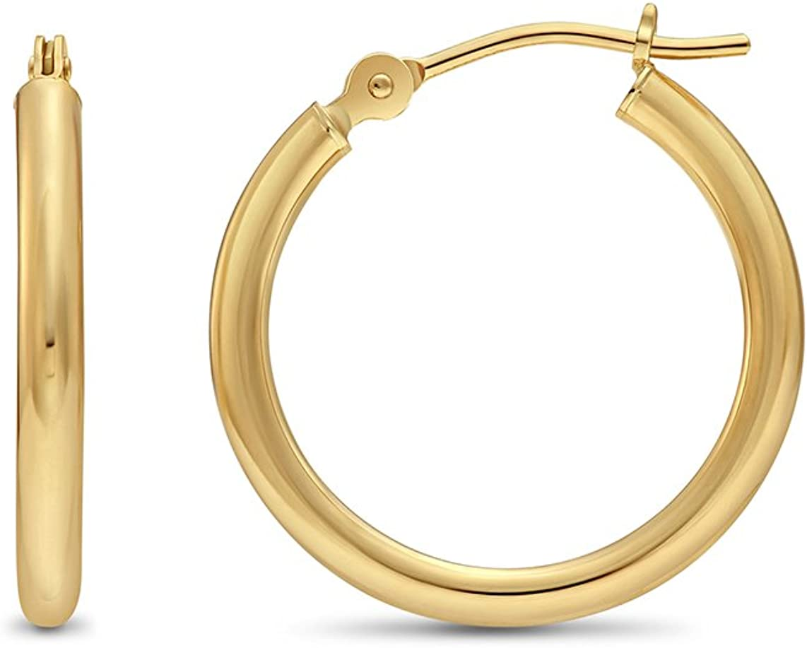 "Mens One Piece Half a Pair Solid 14k Yellow Gold Hoop Earring 1//2/"" ITALY"