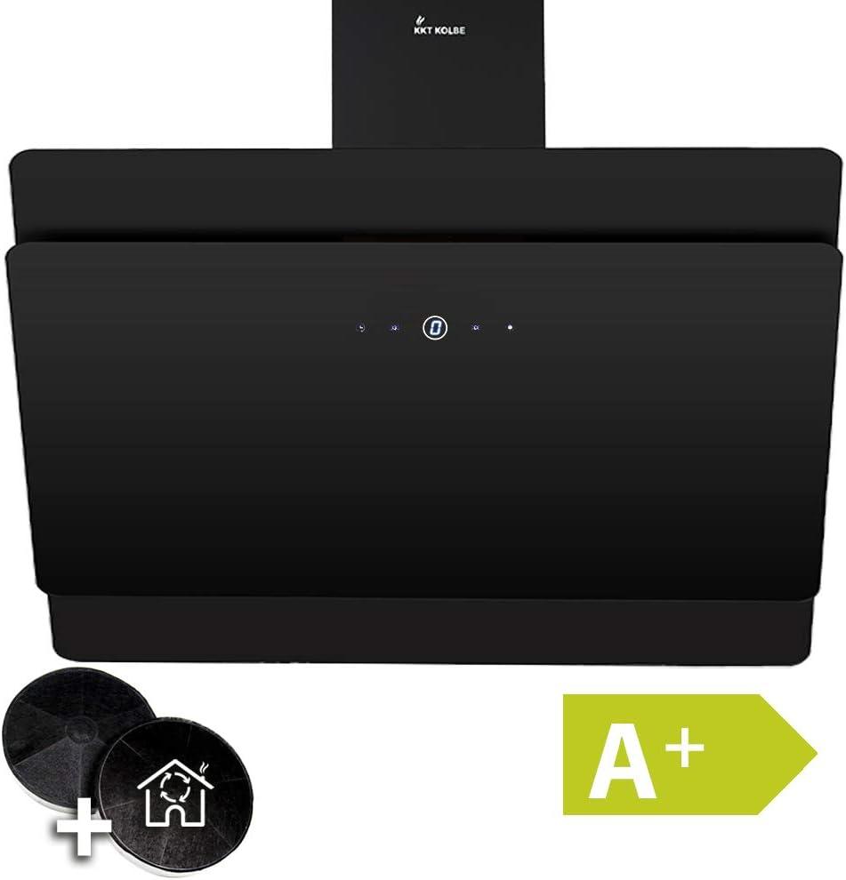 Campana extractora de pared (90 cm, acero inoxidable, cristal negro, 9 niveles, clase de eficiencia A+, iluminación LED, teclas sensoriales TouchSelect) SOLO909S - KKT KOLBE: Amazon.es: Hogar