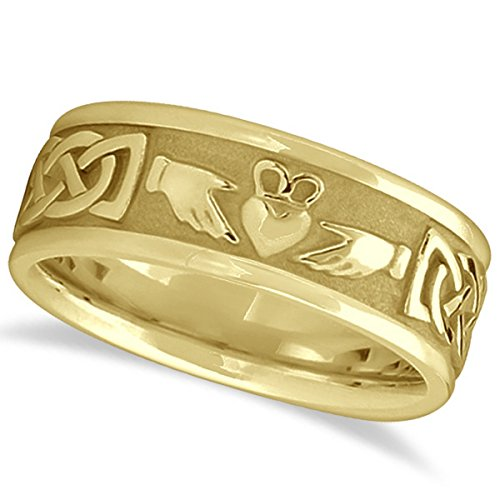 Handcrafted Celtic Claddagh Irish Engravable Wedding Ring Band for Men 14k Yellow Gold