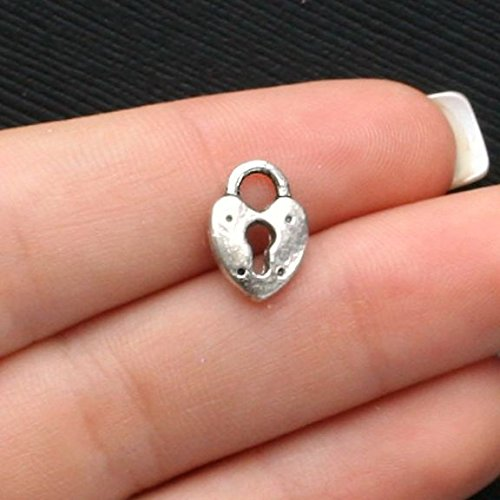 10 Lock Charms Antique Silver Tone Heart Shaped 2 Sided - SC2112 Jewelry Making Supply Pendant Bracelet DIY Crafting by Wholesale Charms