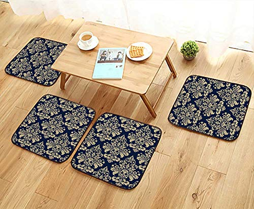 UHOO2018 Elastic Cushions Chairs Wallpaper Baroque Damask Vector Background g and Blue Ornament for Living Rooms W29.5 x L29.5/4PCS Set