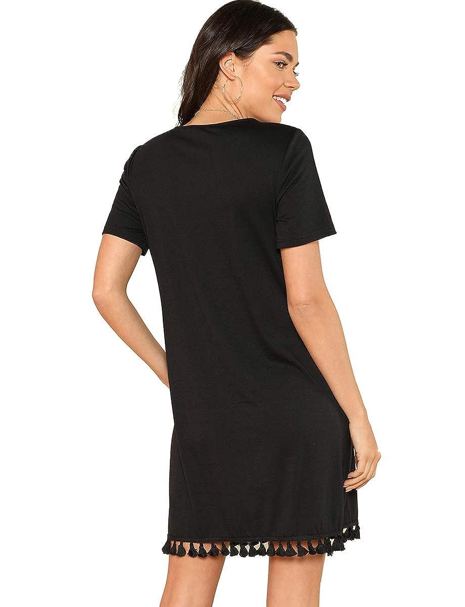 8c3c10a4e0b Romwe Women's Summer Short Sleeve Pocket Tassel Hem Loose Tunic T-Shirt  Dress at Amazon Women's Clothing store: