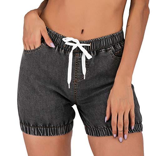 WILLBE Women Denim Shorts Casual Stretchy Mid Rise Short Jeans Pants Women's Mid Waist Elastic Denim Short Jeans
