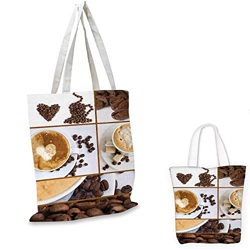 Kitchen canvas shoulder bag Coffee Themed Collage of Beans Mugs Hot Foamy Drink with a Heart Macro Aroma Photo canvas lunch bag Brown White. 15