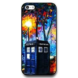 UniqueBox - Customized Black Hard Plastic iPhone 5c Case, Doctor Who Tardis Blue Police Call Box iPhone 5C case