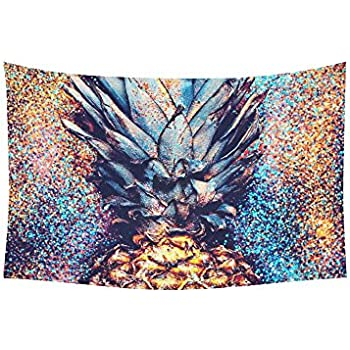 InterestPrint Tropical Beach Wall Art Home Decor, Bling Glitter Pineapple  Colorful Tapestry Wall Hanging Art Sets 60 X 40 Inches