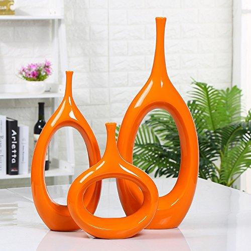Bwlzsp 1 set (3) Modern creative hollowed-out ceramic vase living room household vase pendulum handicrafts (without flower) LU712638 (Color : Orange)