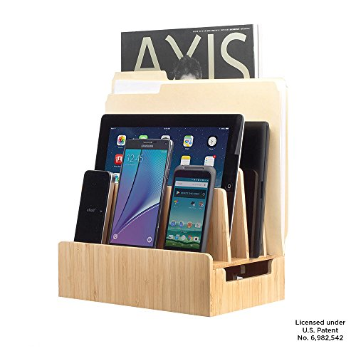 MobileVision Bamboo Charging Station & Multi Device Organizer Slim Version for Smartphones, Tablets, and Laptops by MobileVision