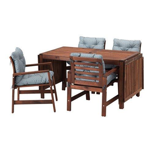 APPLARO エップラロー テーブル+チェアアームレスト付き4 屋外用, ブラウンステイン, イッテローン ブルー 791.836.38 B07DYKQLR2