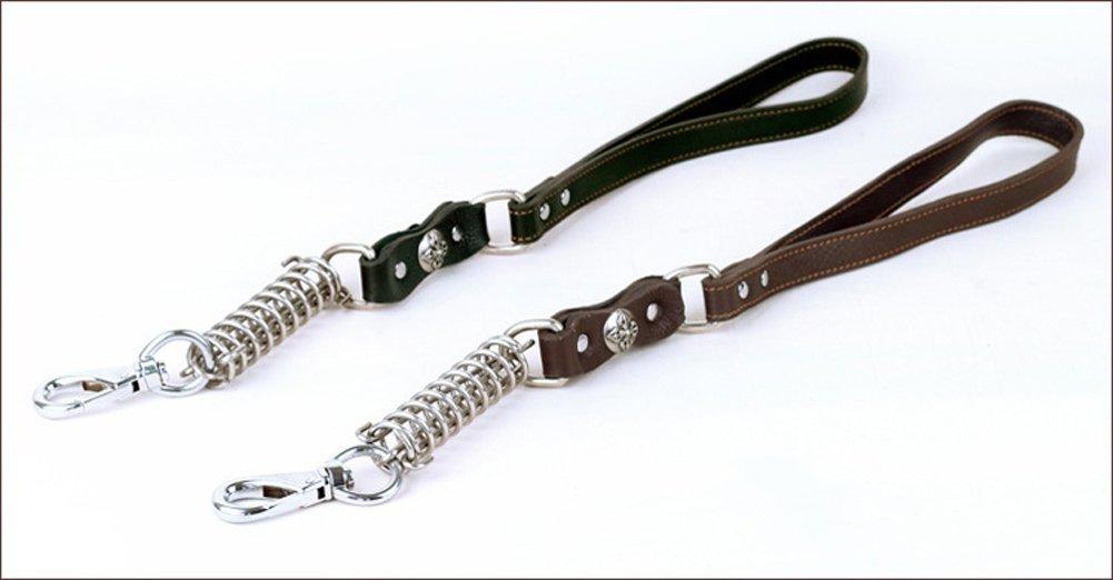 Covink/® 22.5 pollici resistente Genuine Leather Pet addestramento cani Walking guinzaglio con Heavy Duty Acciaio forza di interposizione molla per Grande Media Cani Nero