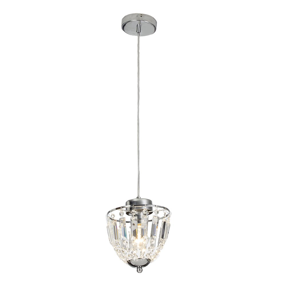 GLANZHAUS Modern Style Chrome Finish Ceiling Lighting Fixture 70.2'' Cord Adjustable Crystal Pendant Light, Hanging Light With Crystal Lampshade for Bar, Kitchen and Living Room.