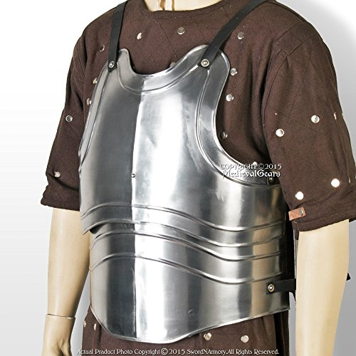 Large Size Medieval 18 Gauge Steel Body Armor Breast Plate Fluted Cuirass LARP (Chest Plate Armor)