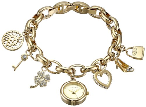 Anne Klein Women's  10-7604CHRM Swarovski Crystal Gold-Tone Charm Bracelet Watch from Anne Klein