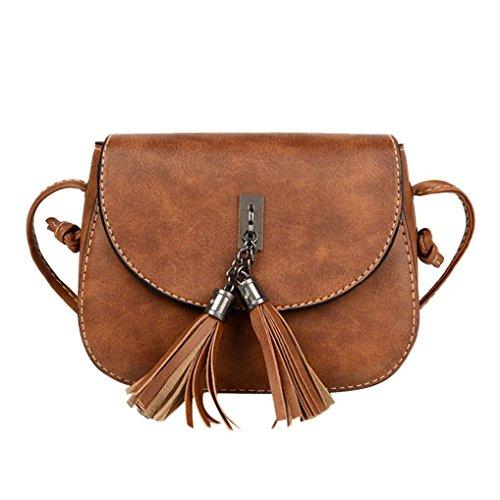 te Bags, Women Fashion Tassel Shuttlecock Decoration Handbag Large Tote Ladies Purse Shoulder Bag (Brown) ()