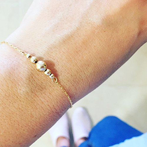 Dainty Simple Gold Filled or Sterling Silver Beaded Bracelet, Unique Artisan Handmade -