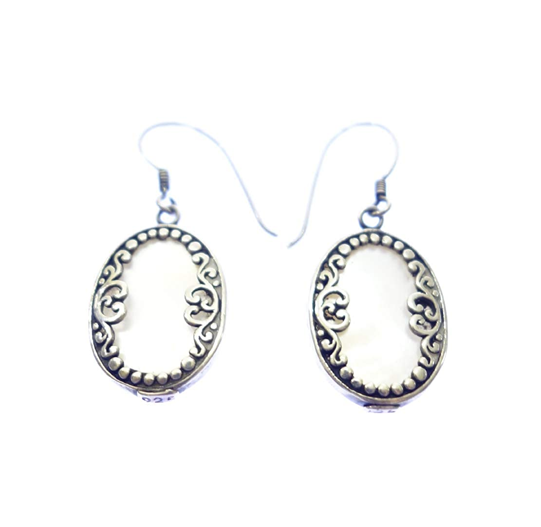 MOTHER OF PEARL UNIQUE DESIGNER FILIGREE EARRING JEWELRY BY ARTISANS 925 STERLING SILVER AUTHENTIC HANDMADE BALINESE ETHNIC TRIBAL FASHION DROP DANGLE EARRING FOR WOMEN /& GIRLS