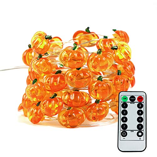 Halloween Pumpkin String Lights, ZALALOVA 13.12ft 40 LEDs 8 Modes Jack-O-Lantern Halloween Pumpkin Lights Copper Wire Battery Operated with Remote Timer for Halloween Decoration (Warm White)