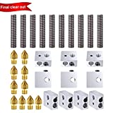 10pcs 30MM Length Extruder 1.75mm Throat Tube and 10pcs Brass Extruder Nozzle Print Heads and 10pcs Aluminum Heater Block Extruder Kit for MK8 M6 Makerbot Reprap 3D Printer
