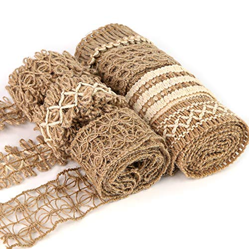 VGOODALL 7 Rolls Ruffle Ribbons, Lace Craft Ribbon Burlap Ribbon Trim Total 14M for Crafts Wrapping Gifts Party Holiday and Rustic Wedding Decorations
