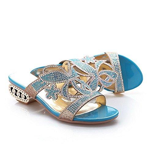 BalaMasa Ladies Polka-Dots Open-Toe Soft Material Slippers Blue M8G5CU
