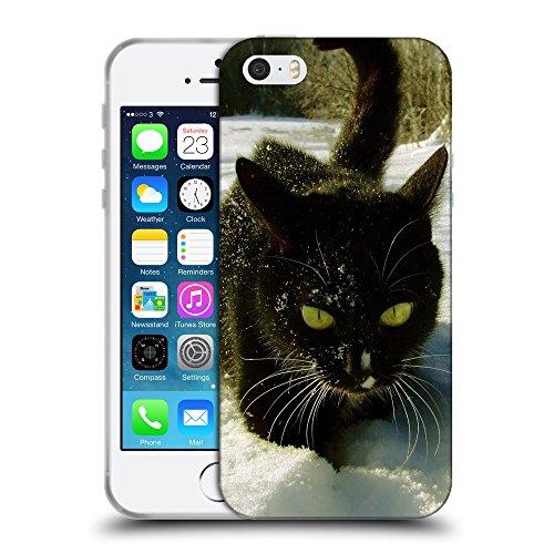 Just Phone Cases Coque de Protection TPU Silicone Case pour // V00004280 Serious chat noir sur la neige // Apple iPhone 5 5S 5G SE