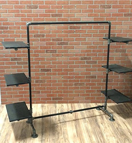 Industrial Pipe Clothing Rack with Wood Side Shelves by William Robert's Vintage - Retail Display Shelving
