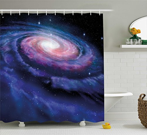 Wide Tap Shower Curtain by Ambesonne, Spiral Galaxy Andromeda Milky Way Cosmic Dust Infinity Glow Mystery Image, Fabric Bathroom Decor Set with Hooks, 70 Inches, Dark Blue Purple