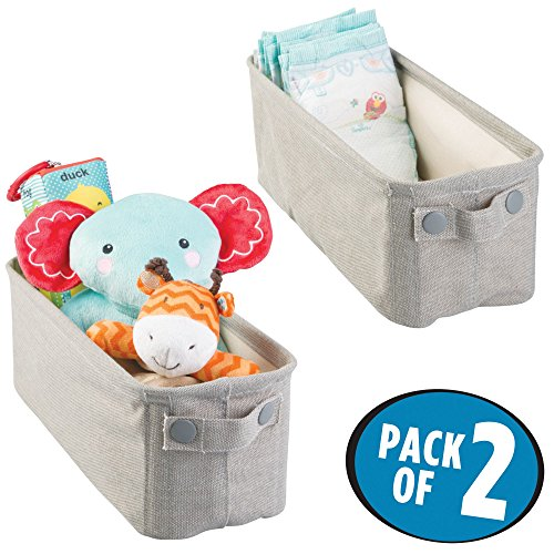 mDesign Soft Cotton Fabric Closet Storage Organizer Bin Basket with Coated Interior and Attached Handles for Child/Baby Room, Nursery, Playroom - Rectangular with Textured Print, Pack of 2, ()