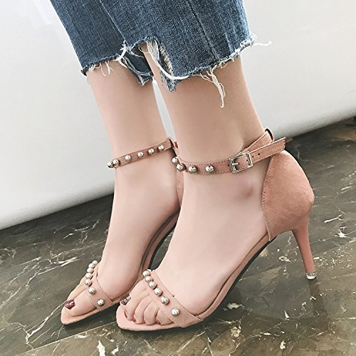 Xing Lin Ladies Sandals New Rivets Sandals With Thin Toe Buckle All-Match High-Heeled Shoes Are A Woman Black lrU2Zbt