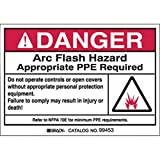 Brady 5'' X 3 1/2'' Black Self-Sticking Polyester Label ''DANGER ARC FLASH HAZARD APPROPRIATE PPE REQUIRED'', Package Size: 5 Each
