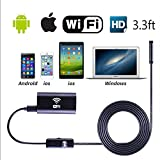 KOBWA Wireless Endoscope,WiFi Borescope Inspection Camera Lens 2.0 Megapixels HD Waterproof Snake Camera with 6 LED Lights for IOS IPhone Android Samsung Smartphone,Tablet