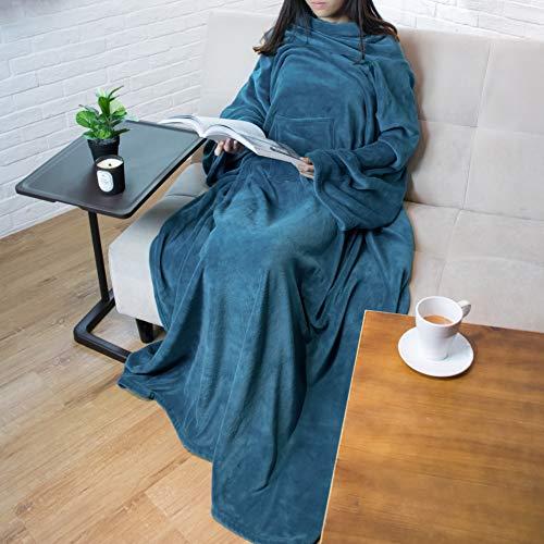 PAVILIA Premium Fleece Blanket with Sleeves for Adult, Women, Men | Warm, Cozy, Extra Soft, Microplush, Functional, Lightweight Wearable Throw (Sea Blue, Regular Pocket) (Snuggie Blanket For Women)