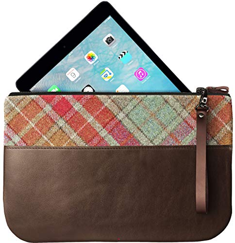 Enough An Ipad To Clutch With Large Autumn Leather Fit Medium Tartan Bag 0fvqCB