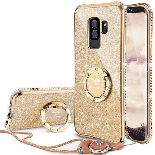Funda Samsung S9 Plus Glitter Con Pie, Dorado