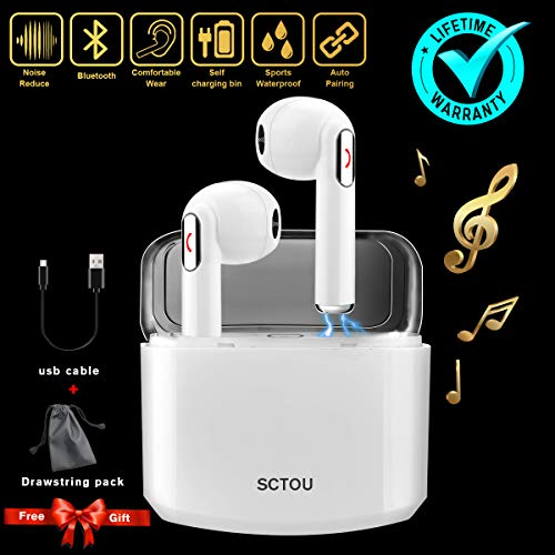 (Wireless Earbuds,Bluetooth Earbuds Wireless Earphones Noise Cancelling with Mic Charging Case,Sport Running Mini True Stereo Earbuds Bluetooth Compatible iOS Android Samsung Phones X 8 7)