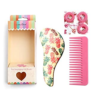 Pro Detangle Hair Brush Set and Hair Comb,Eco-friendly Materials, Cute Pineapple hair straightenning brush