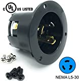 Journeyman-Pro 2615, NEMA L5-30 Flanged Inlet Generator Plug, 30A 125 Volt, Locking Receptacle Socket, Black Industrial Grade, Grounding 3750 Watts (No Cover Included)