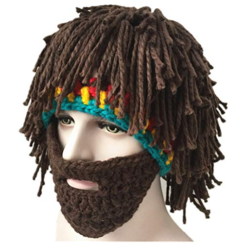 Amosfun Wig Beard Wool Hats Cosplay Party Costume Accessory Hobo Handmade Beanies Warm Winter Knitted Caps Halloween Gift Party Supplies(Colorful)
