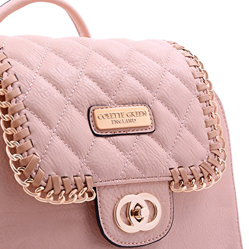 Flap Top Gold Pink Backpack Compartment Medium Colette Quilted Double Green White Chain Z1XqaWF