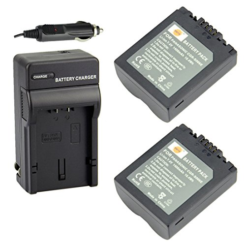 DSTE Replacement for 2X CGR-S006E Battery + DC62 Travel and Car Charger Adapter Compatible Panasonic DMC-FZ28EFK DMC-FZ28EFS FZ18 FZ28 FZ30 FZ30EEK Camera as CGR-S006A1B CGA-S006 DMW-BMA7 ()
