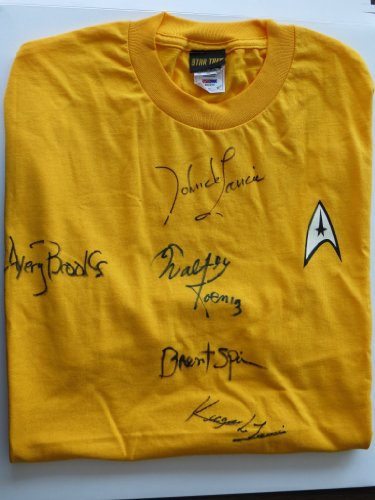 Allsports Productions Startrek Multisigned Autographed T-Shirt – XL – Yellow