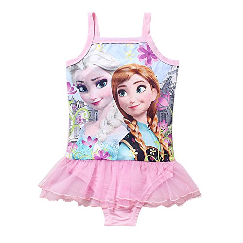 Toddlers Swimsuit Girls Bathing Suit Elsa Princess One Piece Ruffle Swimwear Tankini for Baby Girls