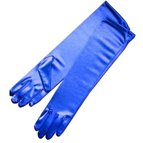 ZaZa Bridal 15.5'' Long Shiny Stretch Satin Dress Gloves Below-The-Elbow Length 8BL-Royal Blue